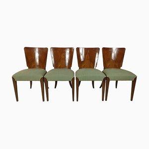Art Deco Esszimmerstühle von Jindřich Halabala, 1940er, 4er Set