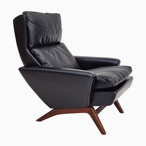 Danish Black Leather Armchair by Georg Thams for Vejen Polstermøbelfabrik, 1960s