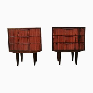 Rosewood Mid-Century Night Stands, Set of 2