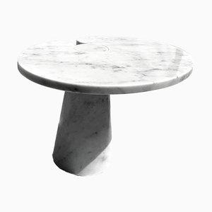 Italian Coffee Table in Italian White Carrara Marble, 1970s