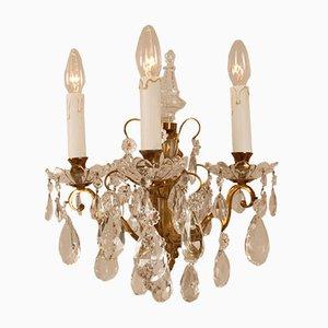 Französische 3-Armige Kristallglas Wandlampen mit Pendeloque & Gold Rahmen von Maison Charles für Baccarat, 2er Set