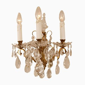 French Crystal 3-Arm Wall Sconces with Pendeloque & Gold Frame by Maison Charles for Baccarat, Set of 2