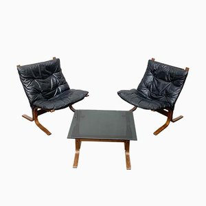 Mid-Century Norwegian Siesta Lounge Chairs and Glass Side Table Set by Ingmar Relling for Westnofa