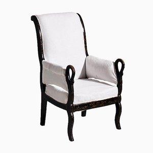 Black Swedish Armchair, 1840