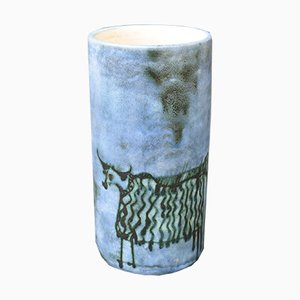Mid-Century French Ceramic Cylindrical Vase by Jacques Blin, 1950s