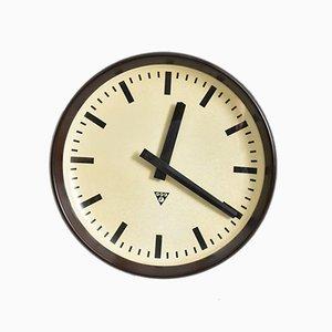 Große runde Bakelit Uhr von Pragotron