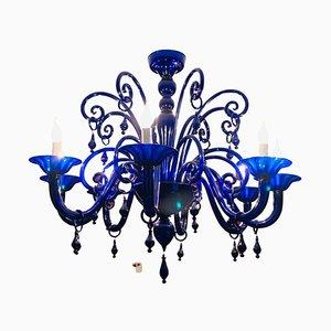Grand Lustre en Verre de Murano Bleu Cobalt