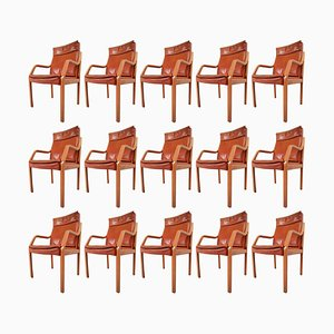 Large Modern Armchairs in Cognac Leather from Walter Knoll, 1970s, Set of 16