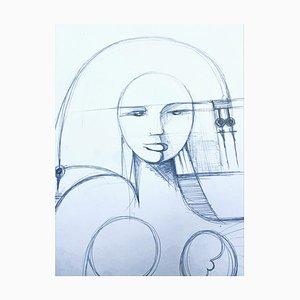 André Ferrand, Portrait 3, 2011, Drypoint Pencil on Paper