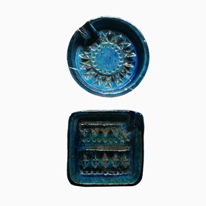 Ceniceros serie Rimini Blue de Aldo Londi para Bitossi, años 70. Juego de 2