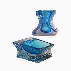 Mandruzzato Glass Vase and Ashtray, Set of 2