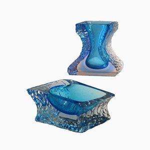Vase et Cendrier en Verre de Murano Mandruzzato, Set de 2
