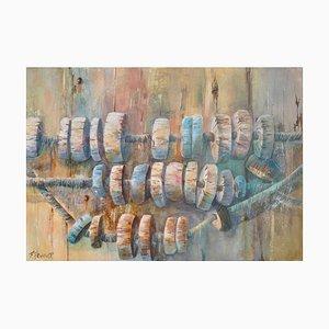 Fabien Renault, Flotteurs de filets de pêche, 2021, Acrílico sobre lienzo
