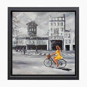 Marie-Laure Souq, Coup de foudre au Moulin rouge, 2021, Oil & Acrylic on Canvas, Framed