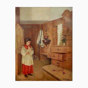 Hans Dvorak (1880 - 1915), Der Messdiener, Gerahmt