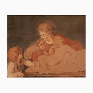 Madonna with Two Children, France, 17th or 18th Century, Watercolor on Parchment, Framed