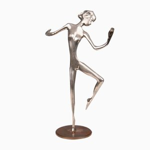 Karl Hagenauer (1898 - 1956), Danseuse, Sculpture en Bronze Plaqué Argent