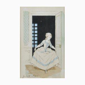 Juliette Arus, ilustración de vestuario, dibujo de acuarela, década de 1900, enmarcado