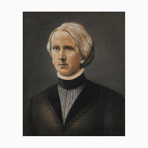 Portrait of Sophia Maria Louis von Gross, Chalk on Brown Paper, Mid-19th Century, Framed