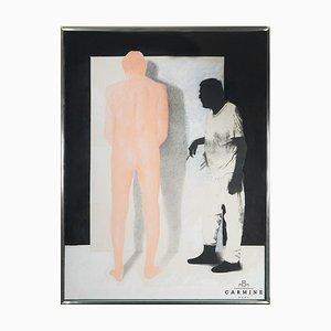 Alfred Hofkunst (1942-2004), Autorretrato, Tiza al óleo sobre papel sobre lienzo, 2001, Enmarcado