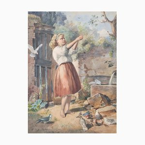 Constantine Strecker, Girl Feeding Birds, Watercolor, Framed