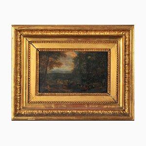 Escuela francesa, Sociedad cortesana en reposo en paisaje libre, siglo XVIII, óleo sobre cobre