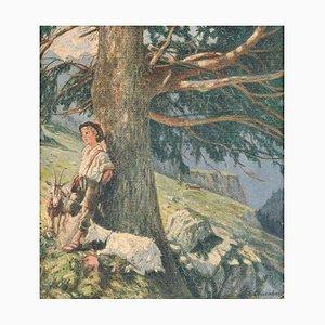 Ernst Otto Leuenberger (1856 -1937), Pastorello in montagna, Dipinto ad olio, Incorniciato