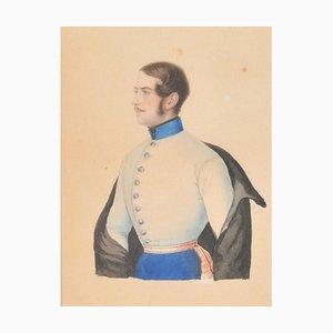 Bust Portrait of Albert von Gross, 1847, Watercolor on Paper, Framed
