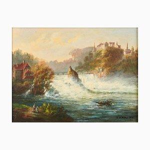 Vedute des Rheins in Neuhausen am Rheinfall, spätes 19. Jh., Postkartenmalerei, gerahmt