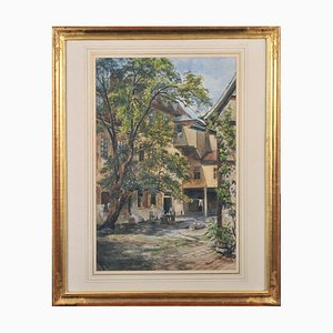 Courtyard with Tree, Watercolor on Paper, Framed
