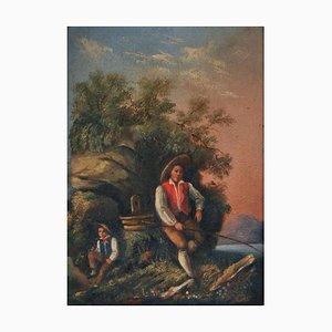 Joven pescador al amanecer, pintura de género, principios del siglo XIX, enmarcado