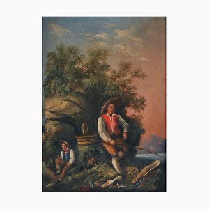Young Fisherman at Sunrise, Genre Painting, Early 19th Century, Framed
