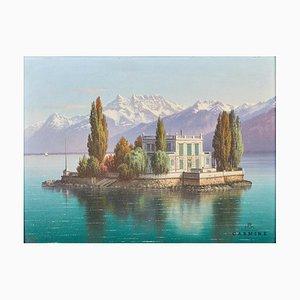 Veduta de l'Ile de Salagnon, Suisse, Début du 20ème Siècle, Peinture de Carte Postale, Encadrée