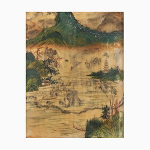 Chinese Painting on Alabaster, Late 19th Century