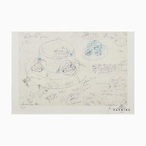 Panamarenko (Antwerpen, 1940-2019), Bing Series Offset Zeichnung, gerahmt