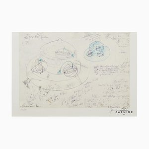 Panamarenko (Anversa, 1940-2019), Disegno offset serie Bing, Incorniciato
