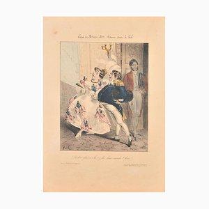 Litografía inglesa coloreada, década de 1830, enmarcada