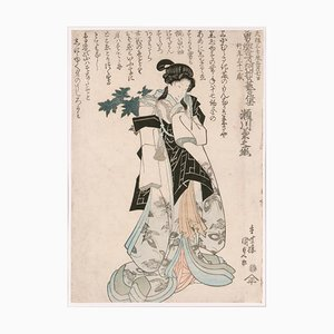 Utagawa Kunisada, Shini-E en conmemoración de la muerte del actor de Kabuki Segawa Kikunojo V, 1832