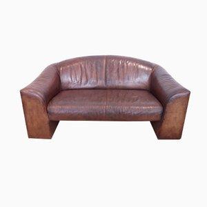 Sofá de 2 plazas vintage de cuero marrón de De Sede, años 70