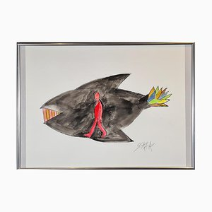 Ted Scapa (Amsterdam, 1931), Jonah in the Whale, Framed