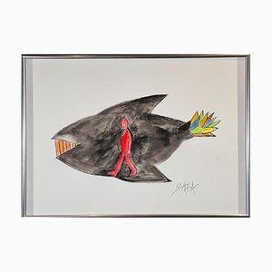 Ted Scapa (Amsterdam, 1931), Jonah in the Whale, Incorniciato