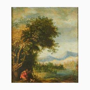 Matthäus Merian (1621 - 1687), A caccia di anatre, Olio su rame, Incorniciato