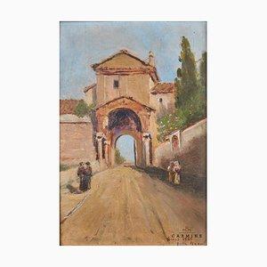 Attribuito a Pagani, Veduta romana raffigurante la porta della città sotto una chiesa, incorniciata