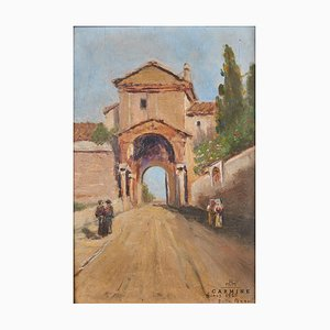 Attributed to Pagani, Roman Veduta Depicting City Gate Under a Church, Framed
