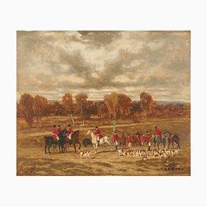 Auguste Molins (1821-1890), Caccia alla volpe inglese, Olio su legno, Incorniciato