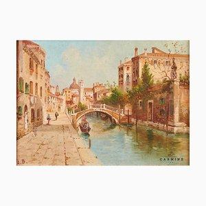 Pittura ad olio, veduta veneziana, con cornice