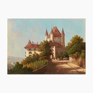 Fritz Hänni, Veduta of the Castle Hill in Thun, Late 19th Century, Swiss Postcard Painting, Framed