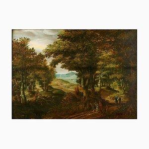 David Vinckboons (1576-1629), Paysage Forestier, Huile sur Bois, Encadré