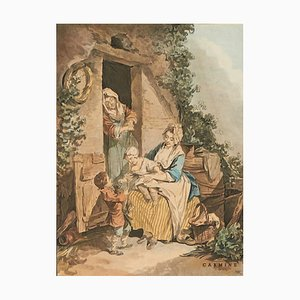 After Francois Boucher, Janinet, La crainte enfantine & La confiance enfantine, Acquerelli, Incorniciato, Set di 2