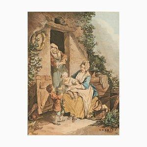 After Francois Boucher, Janinet, La crainte enfantine & La confiance enfantine, Watercolors, Framed, Set of 2